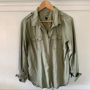 Olive button up shirt!